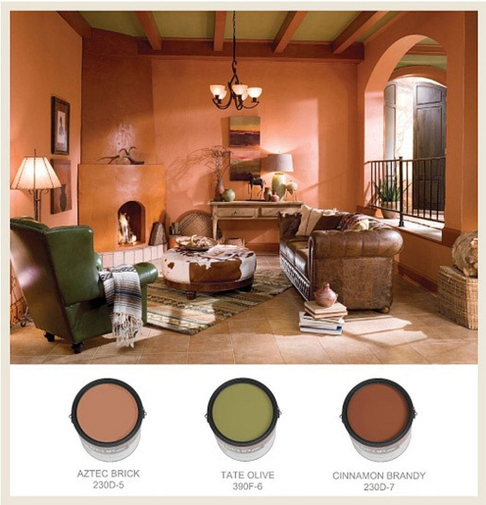 Love The Color Palette In This Sunken Spanish And Pueblo Style Den   Behr  Paints