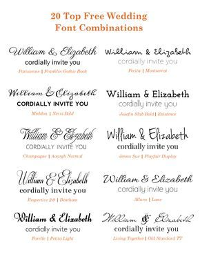 20 popular free google wedding font combinations diy wedding check out these free google wedding font combinations if you are planning on diy wedding invitations after researching some of the classic to modern fonts stopboris Images