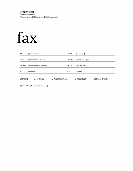 fax cover sheet microsoft office