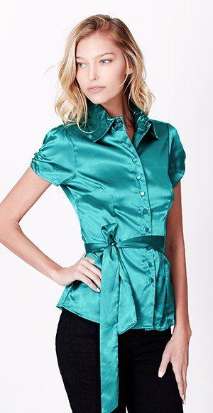 e8aca943e4922 LE3NO Womens Short Sleeve Satin Blouse with Waist Tie at Amazon Women s  Clothing store