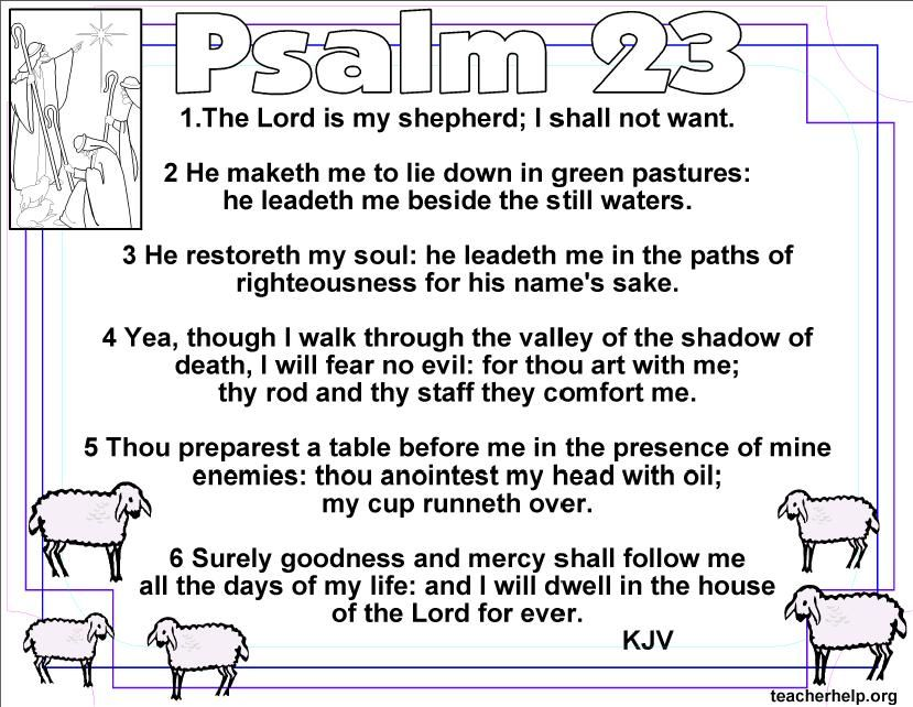 This is a picture of Psalm 23 Printable pertaining to bookmark