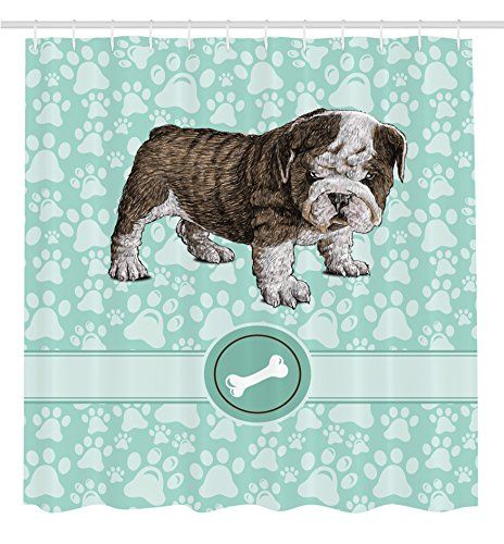 Dog Shower Curtain Animal Decoration Bulldog By Ambesonne Apartment Decor Adorable Purebred Cute Furry English Puppy Doggy Friendly Pet Owner Art Prints