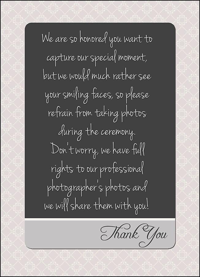 Wedding invitation insert - no photos please - wedding photography ...