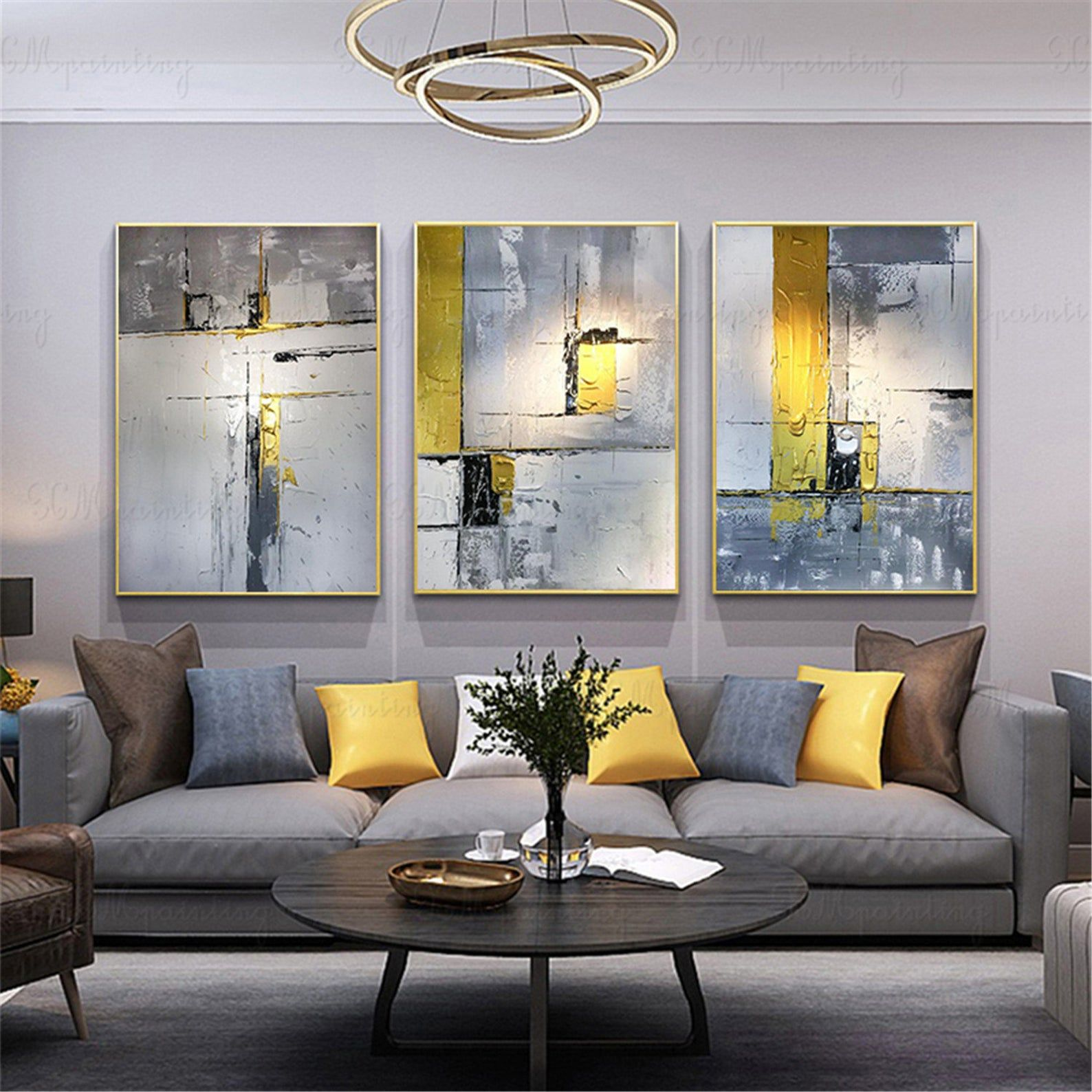 3 pieces gold art abstract painting canvas wall art on modern acrylic paintings for living room id=68249