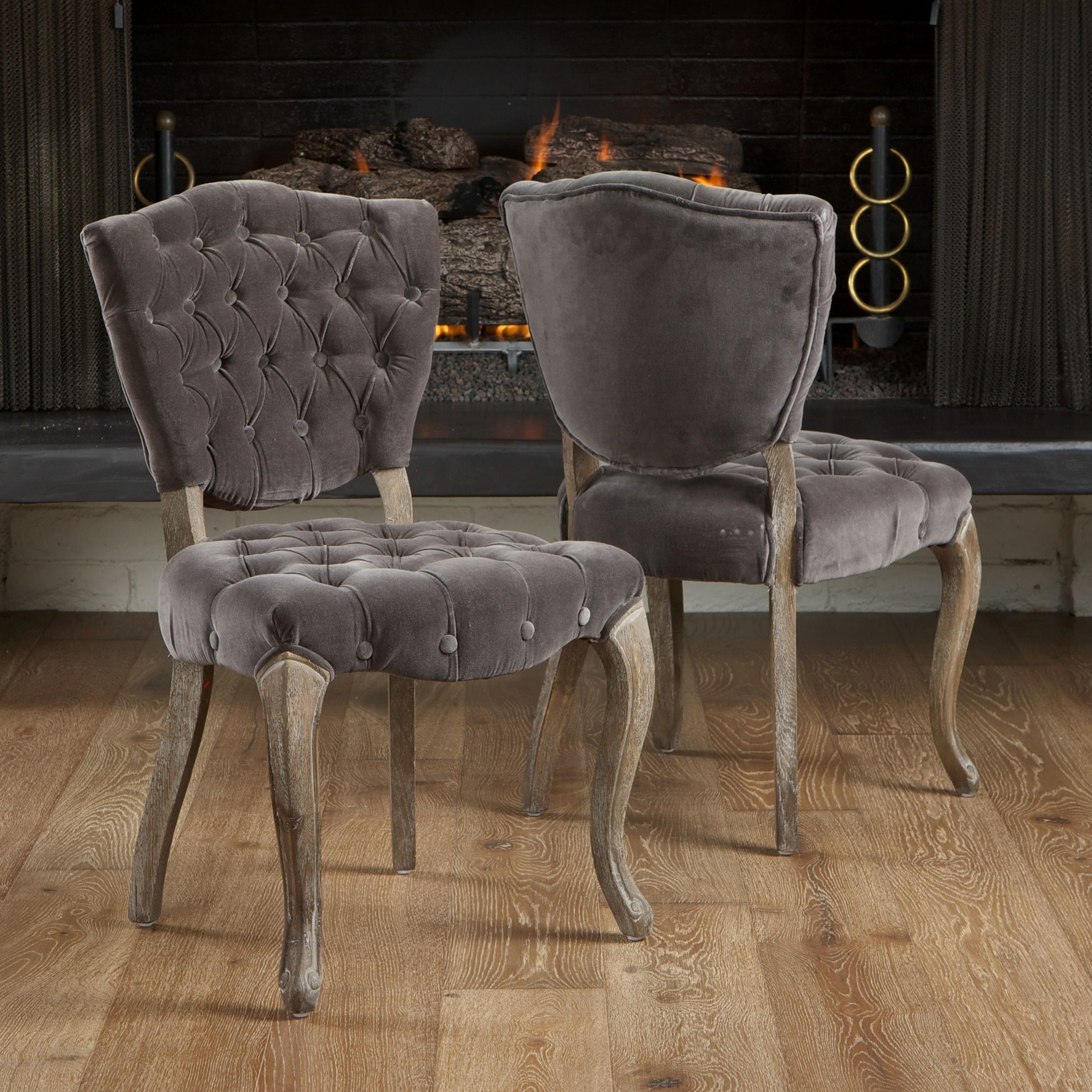 Bates Tufted Grey Fabric Dining Chairs Set Of 2 Fabric Dining