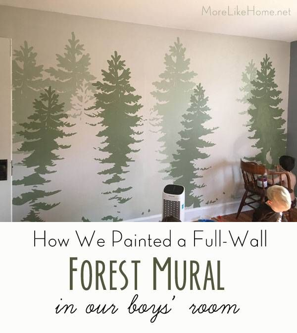 DIY Forest Mural (great for a boy's room!) is part of home Art Room - triangle shaped tree), a simple design (nothing too busy), and I wanted the perspective to make sense (like you're walking along the trees, not looking down on treetops)  I started by hunting on pinterest for inspiration, but gave up pretty quickly when I didn't find anything like what I had in mind  I started messing around in photoshop and ended up with this A realistic tree shape in a simple color blocking style, growing right up from the floor  Check, check, check! I wanted the trees to be a nice earthy green (nothing too bright), so I looked for a paint card with more muted greens and a gray undertone  Fortunately I've collected quite a pile of green paint cards in an attempt to color match a few greens in our house (bonus that it's my favorite color), and pretty quickly picked a winner  It helped having just my little stash to sort through instead of a whole store! The winner was a card from Home Depot, and I went with the three center tones on the card Side Kick (OL740 3) Zebra Grass (OL740 4) Pine Garland (OL740 5) I bought a quart of each in an eggshell finish in Behr's zero VOC paint (no fumes in the boys' room, please!)  Now here's the only tricky part of this project you need an overhead projector  I was able to borrow one from my mom (she got it at a rummage sale for $2!), but you may be able to rent one from your library or office supply store  I made an outline picture of the trees that we could use to trace the design on the wall and printed them on transparency film  You can click the image below to print your own, but you'll have to play around with the print scale to get the right size for your space  I had to zoom in and split the image across three transparencies in order for them to project tall enough  FYI, you have to print transparencies with a laser printer (not inkjet) or have it printed at an office store  We set up the projector and got to work! Here are a few tips we found helpful put the projector on a chair tape the transparency in place so it won't get bumped scoot the chair each time you change transparencies (we used three) each time you switch transparencies, line it up the best you can but don't sweat if it's not perfect  Just connect the lines as you draw  bring the pencil sharpener  You're about to go through a whole lot of lead  Our biggest boy loved helping with this part  The smaller boys loved making shadows and bumping the $200 piece of borrowed equipment  After that we called it a day  This took a while and I'll tell you know, my arm muscles obviously are not what they should be  But the next day, we were ready to start painting  I found it easiest to start with the back row of trees (it's easier to paint over any messy edges later than to fill in between the front trees without messing them up) so we opened our lightest green first  I used a small artist brush (like this one) to paint the outline of each tree in the back row  (I referenced my photoshop image to make sure I painted the right ones!) But the boys insisted I leave the centers for them to paint  And they did not let me forget it  So I painted in the edges pretty far and left openings in the very center that weren't close to the edges  Like at all  And I gave them the small paintbrush to fill it in with  Wonder of wonders, we wiped a few drips on the floor but they didn't get a single stroke outside the lines  And they felt like superstars  Next up was the center row of trees with the medium green  I started by checking my photoshop image and marking each middle tree with a spot of paint And we filled them in the same way  I started with the edges       and they filled in the middles  And finally we did the front row with the darkest green  For this row, I started with the edges again, then filled them in most of the way with a larger brush before I let the boys loose  We had a lot more tree to cover here  I used over half the quart of the dark green! I had to do a touchup second coat, especially on the darker colors, but it went quite a bit faster since the edges were good  Then we let it dry and air out a few days just to be safe (the boys slept in our guest room that week) and it was done! P S  I found a baby walrus A very thirsty baby walrus  This mural ended up taking a few days to finish, but it was a pretty simple process and a fun project for the kids  We'd love to hear if you paint your own! So what are you thoughts on murals  I'll tell you what, my eyes have been opened and I am fully on board!