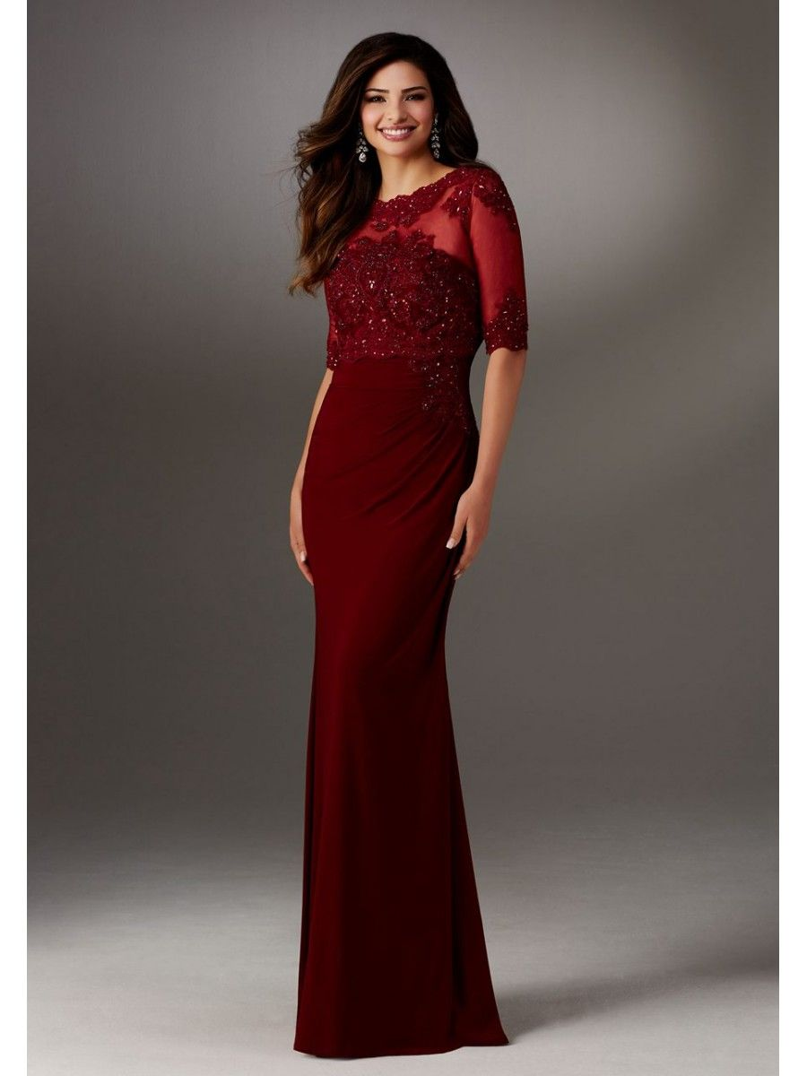 Long red half sleeves lace mother of the bride dresses