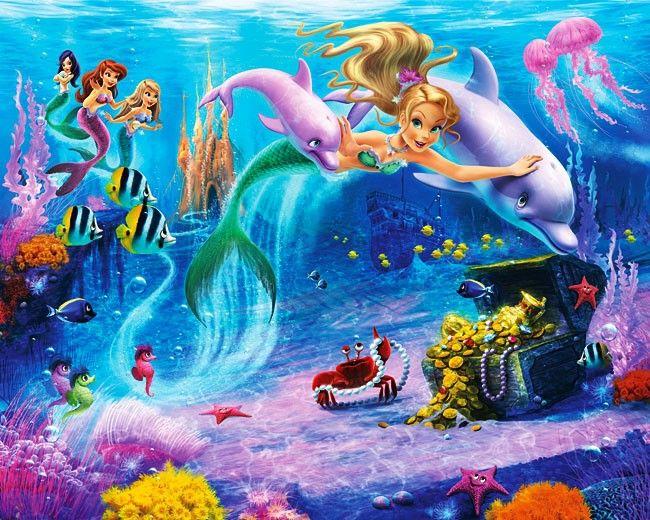 riesen wandbild fototapete kinderzimmer von walltastic meerjungfrau mermaids die neue. Black Bedroom Furniture Sets. Home Design Ideas