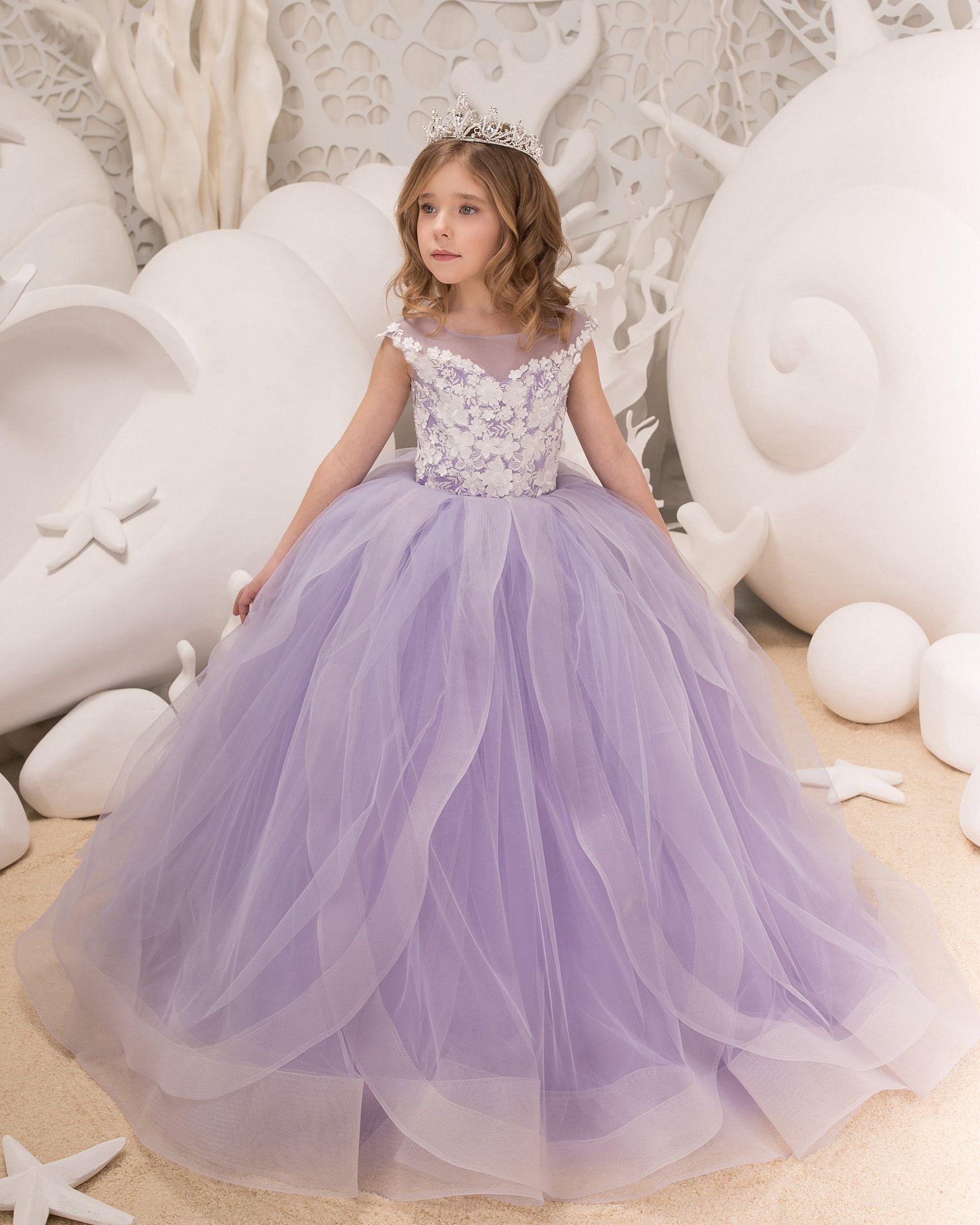 Lavender lace tulle flower girl dress girls party dress