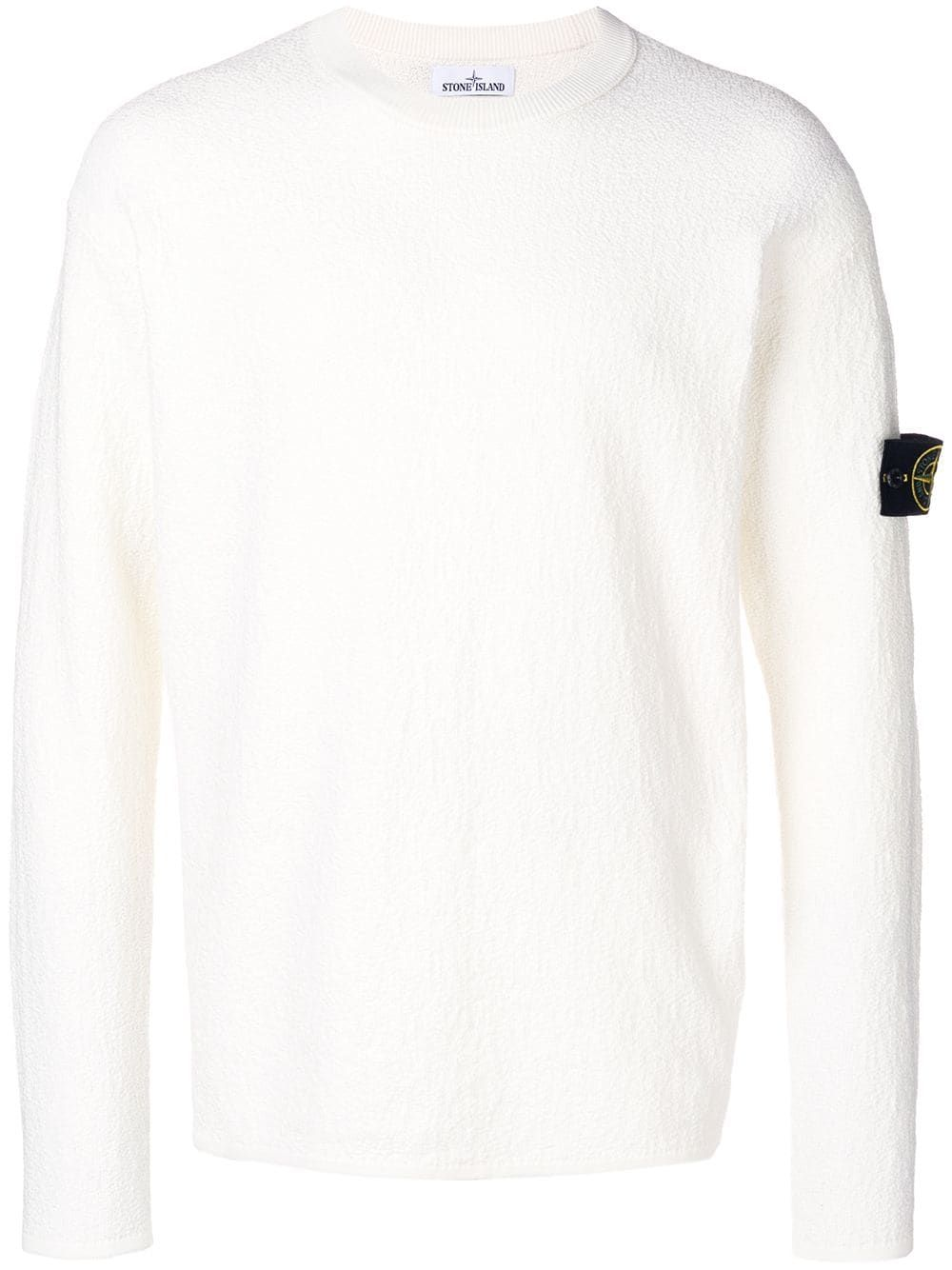 Stone Island Gestrickter Pullover Weiss In White Textured Knit Sweater Textured Knit Knitted Sweaters