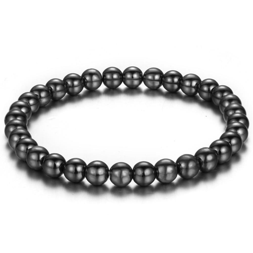 Simple beads women men bracelet rose gold silver black elastic
