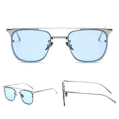 8c4d459db22c Vintage Tint sunglasses square silver frame blue lenses mens eyeglasses