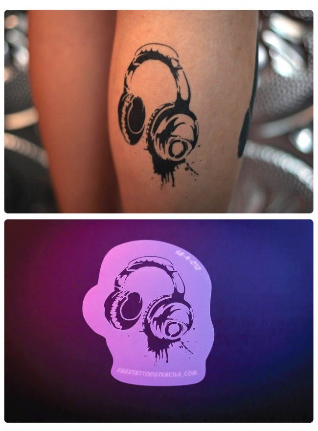 headphones faux tattoo stencil street art style body art love pinterest stencil street. Black Bedroom Furniture Sets. Home Design Ideas