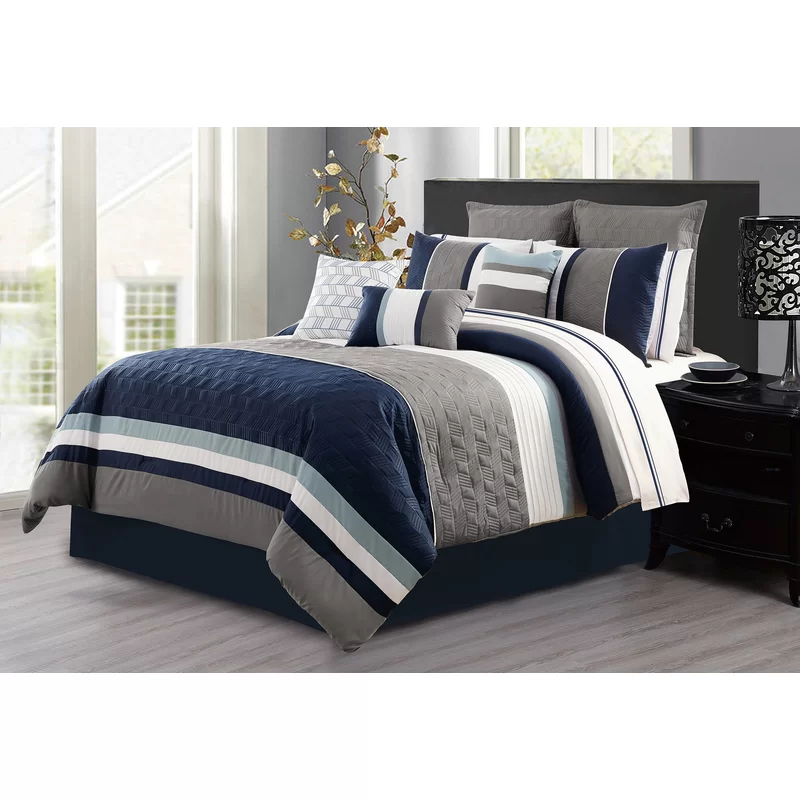 Blue 7 Piece Luxury Soft Microfiber Oversized Bedroom Comforter Sets King Size