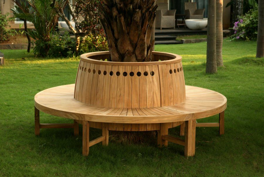 Round Tree Bench With Circular Cutouts Decoist Tree Seat Tree Bench Bench Around Trees