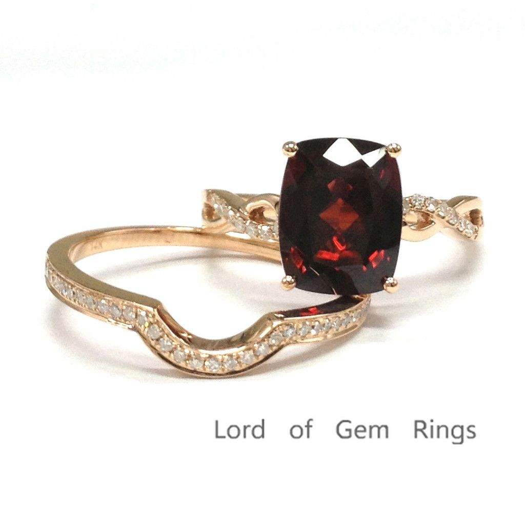 599 Cushion Garnet Engagement Ring Sets Pave Diamond Wedding 14k Rose Gold 8x10mm Curved Band