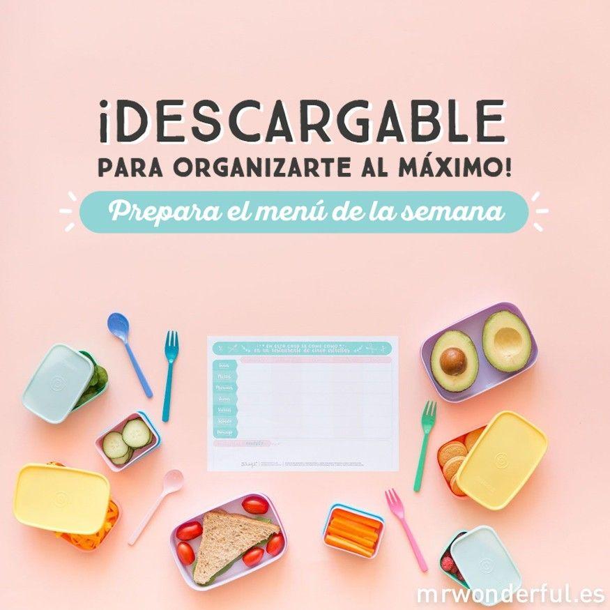 Descargable - Planificador menú semanal | by Mr. Wonderful* www.agendawonder.es