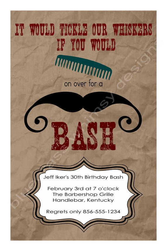 Comb on Over for a Mustache Bash Birthday by BluegrassWhimsy, $12.00 ...
