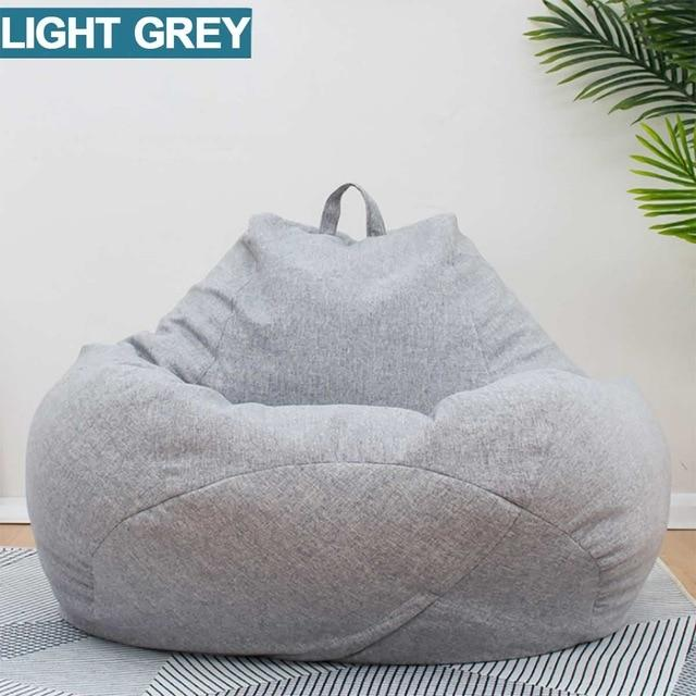 Seat Bean Bag Sofa Chair Cover Pouf Puff Couch Tatami Linen Cloth Room Furniture
