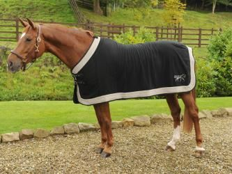Horse Fleece Rug Black Grey