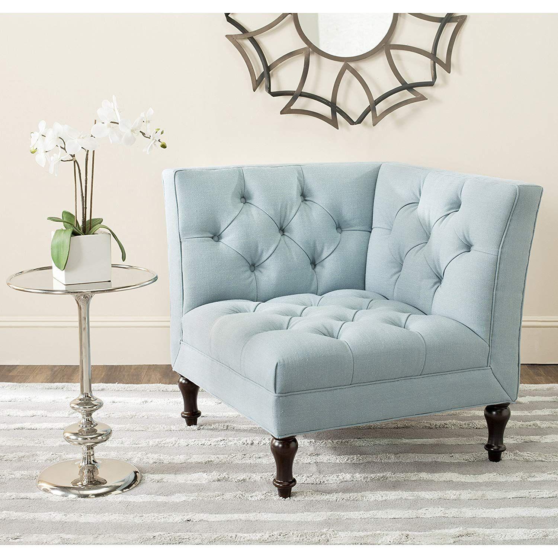 Best Mercer Collection Jack Corner Chair Sky Blue Tufted 400 x 300
