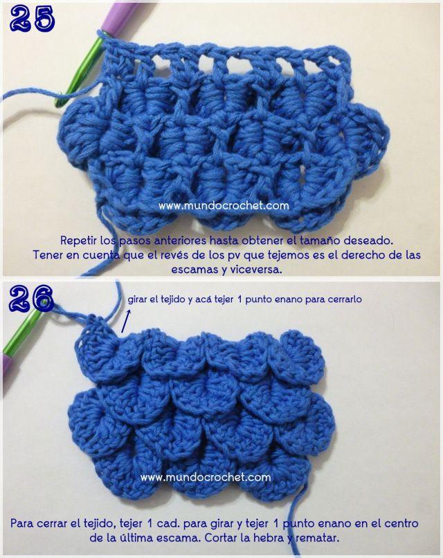 Como tejer el punto cocodrilo o escama a crochet o ganchillo 09 ...