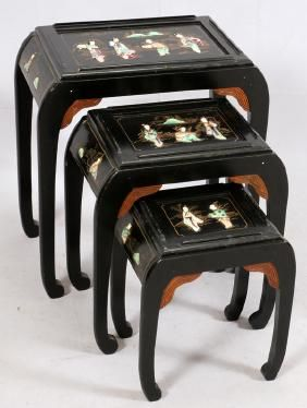Chinese hardstone and lacquered nesting tables chinese hardstone and lacquered nesting tables watchthetrailerfo