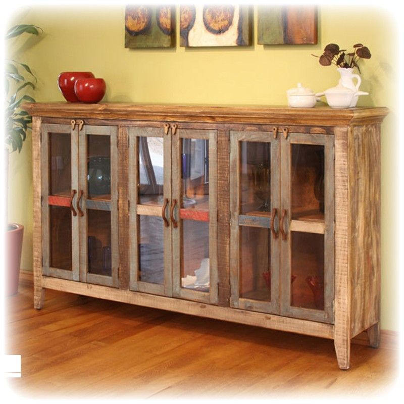 Antique Multi Color 3 Bay Console Cabinet 6 Glass Doors House