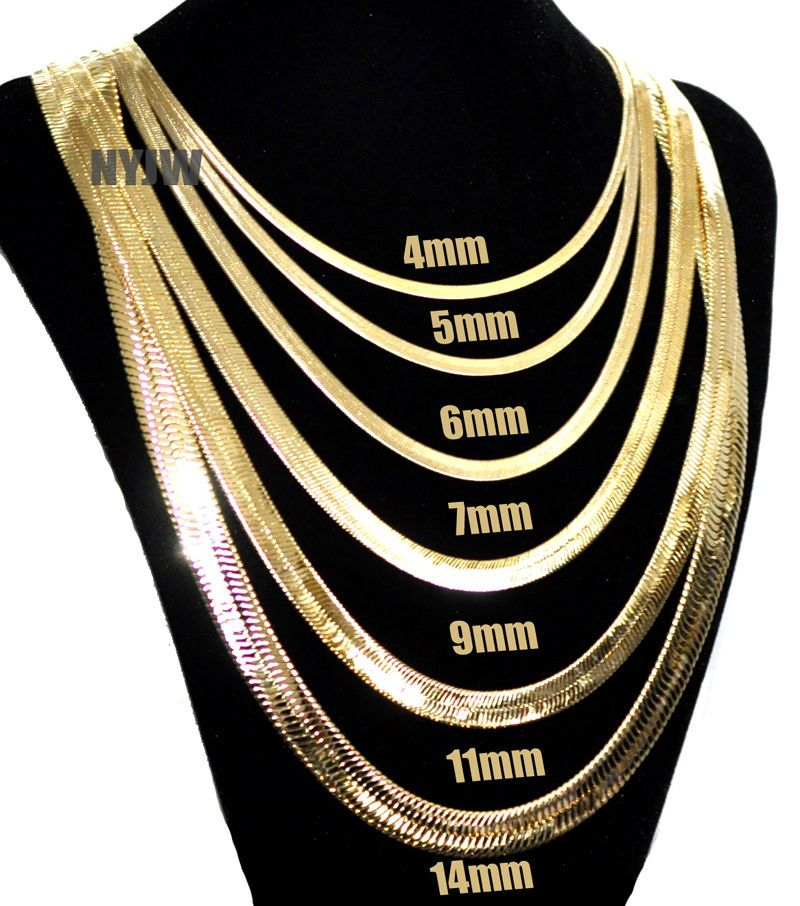 """Mens Herringbone Yellow 14k Gold Plated 4 to 14mm wide 18/"""" to 30/"""" Chain Necklace"""