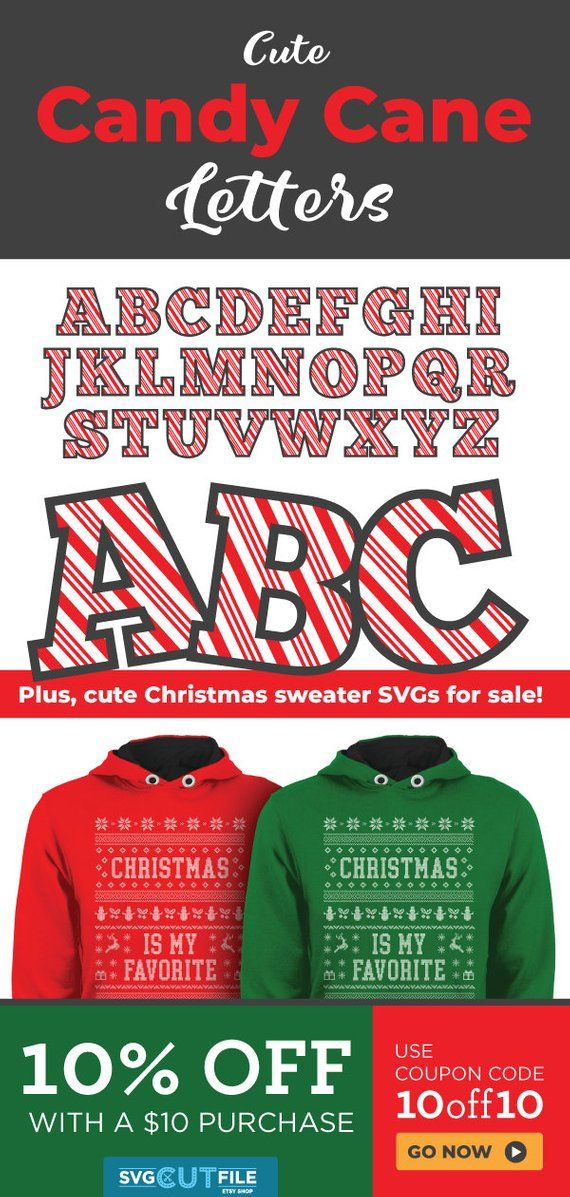 Candycane letters svg striped Christmas canes dxf