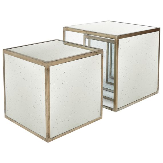 A Set Of Two Nested Cubes Made Of Antiqued Mirror Glass With A Bronze  Finished,
