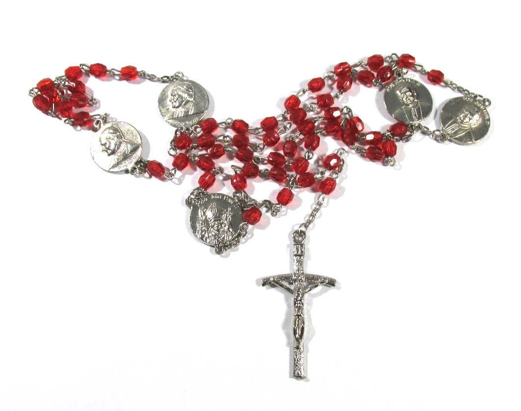 Rosary Cross VINTAGE Religious Necklace Metal Cross Red Glass Beads Religious Jewelry Religious Medallion Vintage Rosary Jewelry (R108) #rosaryjewelry