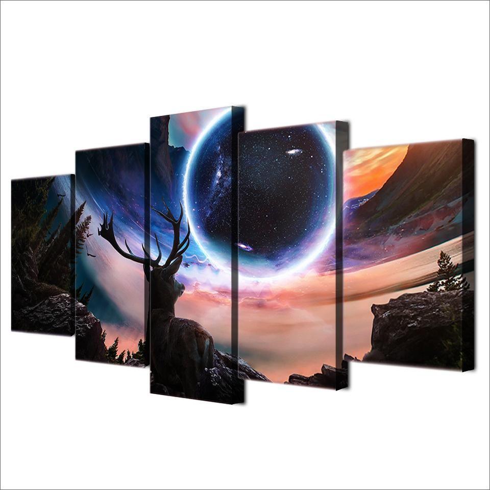 Hd Printed 5 Piece Canvas Art Reindeer Star Space Moon Planet Deer Painting Wall Art 5 Piece Paintings Ny 6565a Animal Wall Canvas 5 Piece Canvas Art Deer Painting
