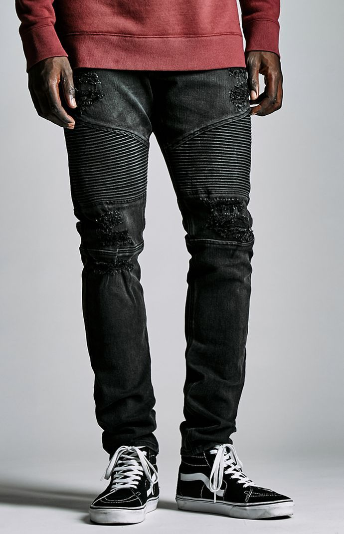 Destroyed Moto Stacked Skinny Jeans Black Ripped Jeans 15dbb1b38