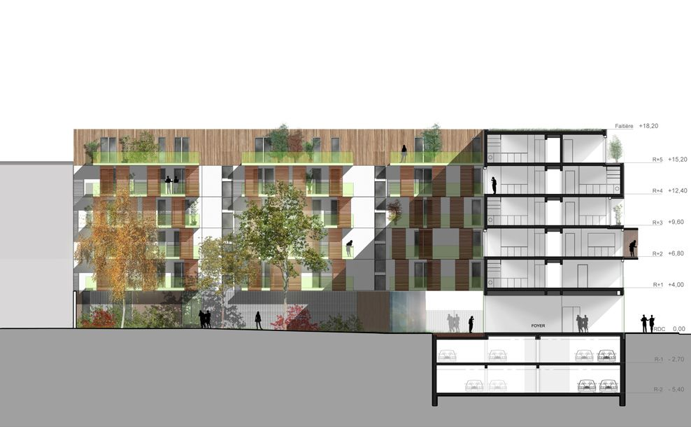 architecture section + elevation _ Western Façade and