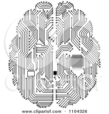 black and white circuit brain with a computer chip posters