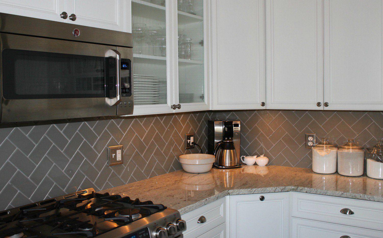 - Lush Taupe 3x6 Pale Gray Beige Glass Subway Tile Kitchen Corner