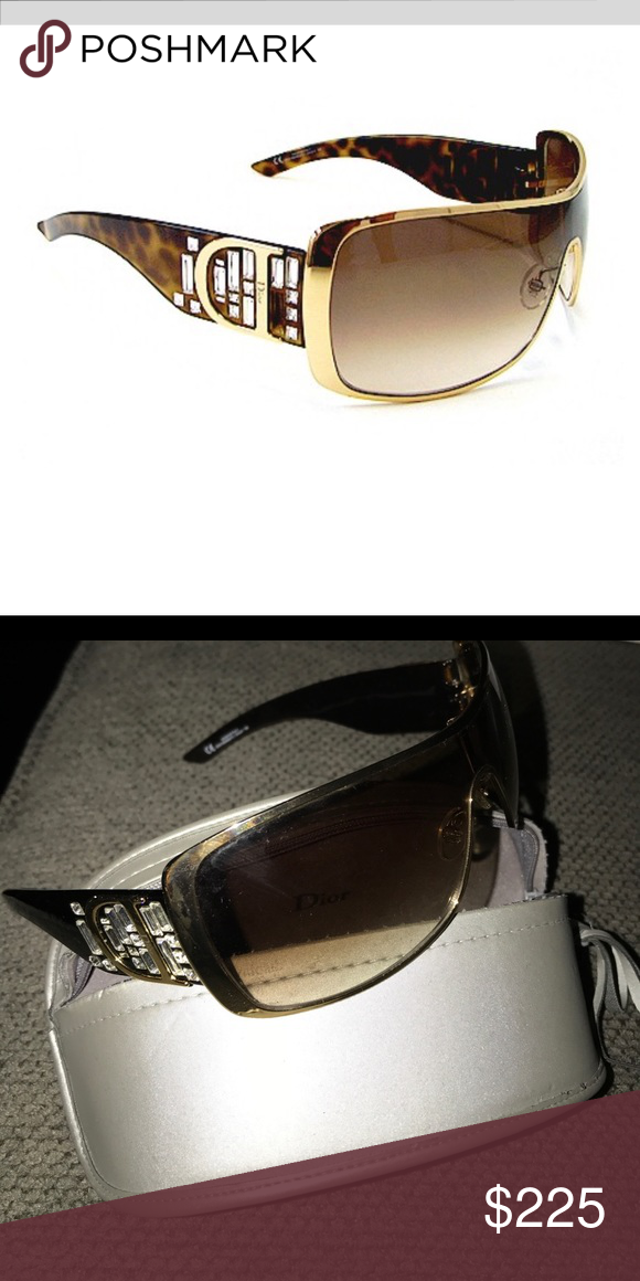 6e4c6a543237 CHRISTIAN DIOR INDINIGHT 2 Brown Lense Gold Sides Christian Dior  Accessories Sunglasses
