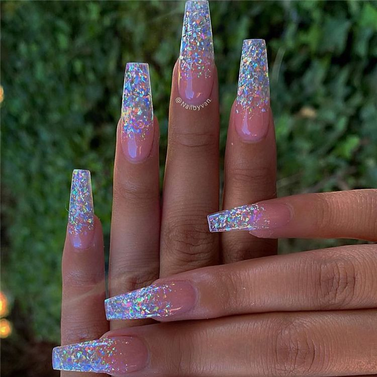 Stunning And Gorgeous Summer Coffin Acrylic Nail Designs For Your Inspiration Summer Coffin Acrylic Nail In 2020 Coffin Nails Designs Bling Nails Summer Acrylic Nails