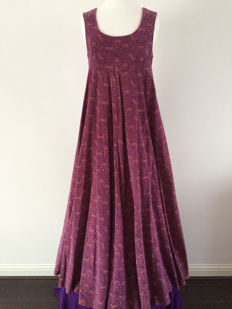 VINTAGE 60s LAURA ASHLEY PLUM CORDUROY HUNTING GROUND EMPIRE DRESS ...