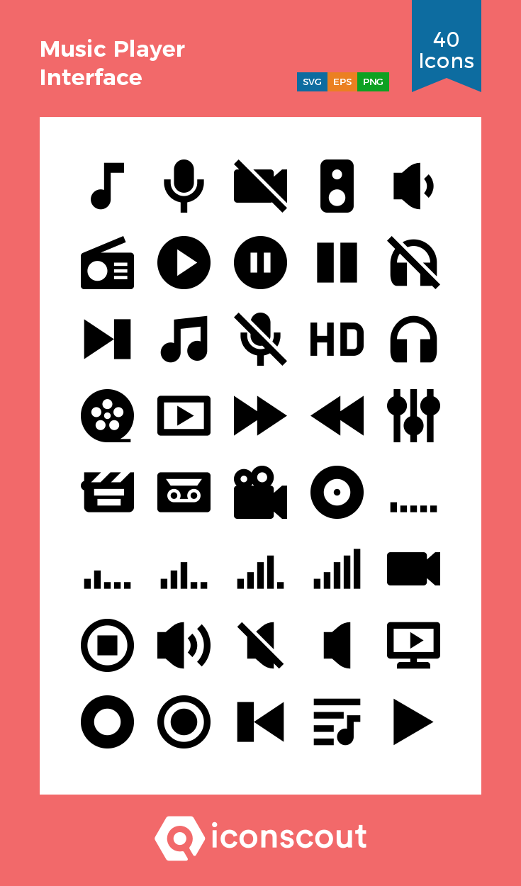 Music Player Interface Icon Pack - 40 Glyph Icons   User