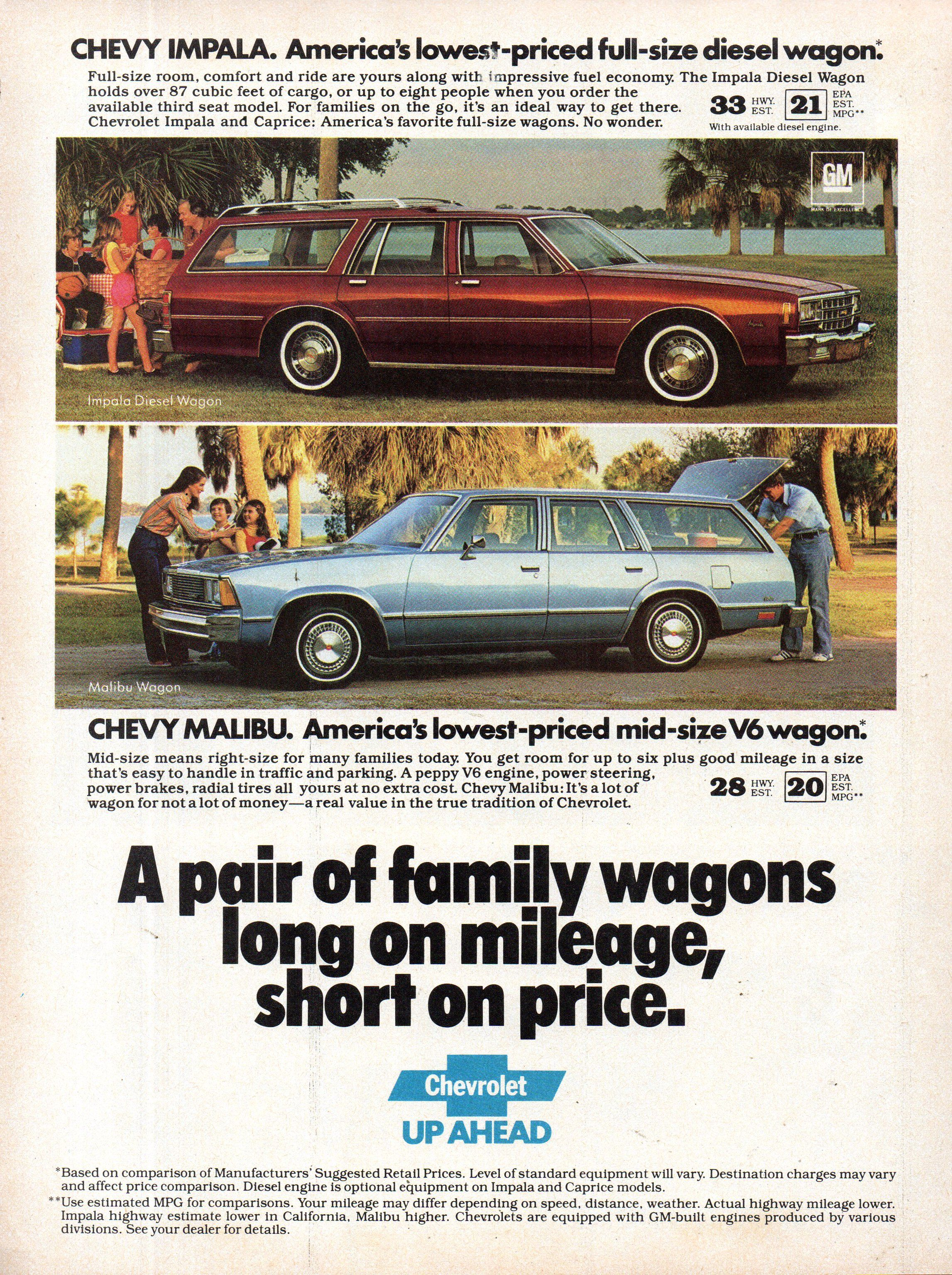 1981 Chevrolet Impala Diesel Wagon Chevy Malibu V6 Wagon Usa Original Magazine Advertisement In 2020 Chevy Malibu Impala Chevrolet Impala