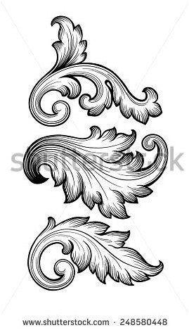 Tattoo Vintage Baroque Leaf Scroll Set Black And White Foliage Floral Ornament Filigree Engraving Retro Styl Ornament Drawing Filigree Tattoo Baroque Ornament