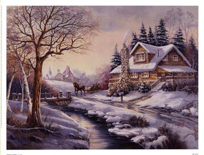 Reflections at twilight by carl valente mod le vitrines christmas paintings winter painting - Paysage enneige dessin ...