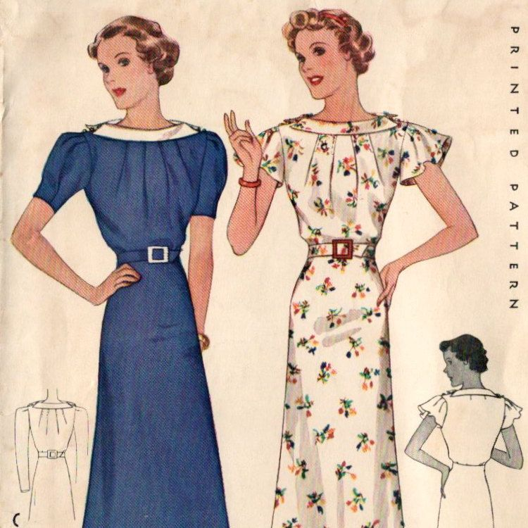 Late 1930s pattern: day dress with collared bateau ...