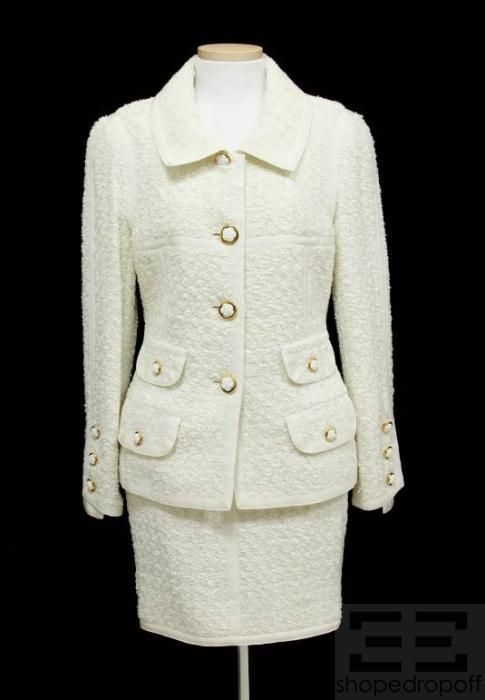 Chanel White Metallic Tweed Camellia Button Jacket Skirt Suit