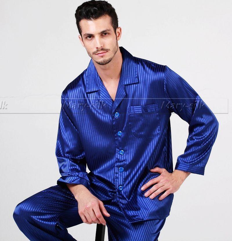 Mens Silk Satin Pajamas Set Pajama Pyjamas PJS Sleepwear Loungewear ... 2f859f0b7