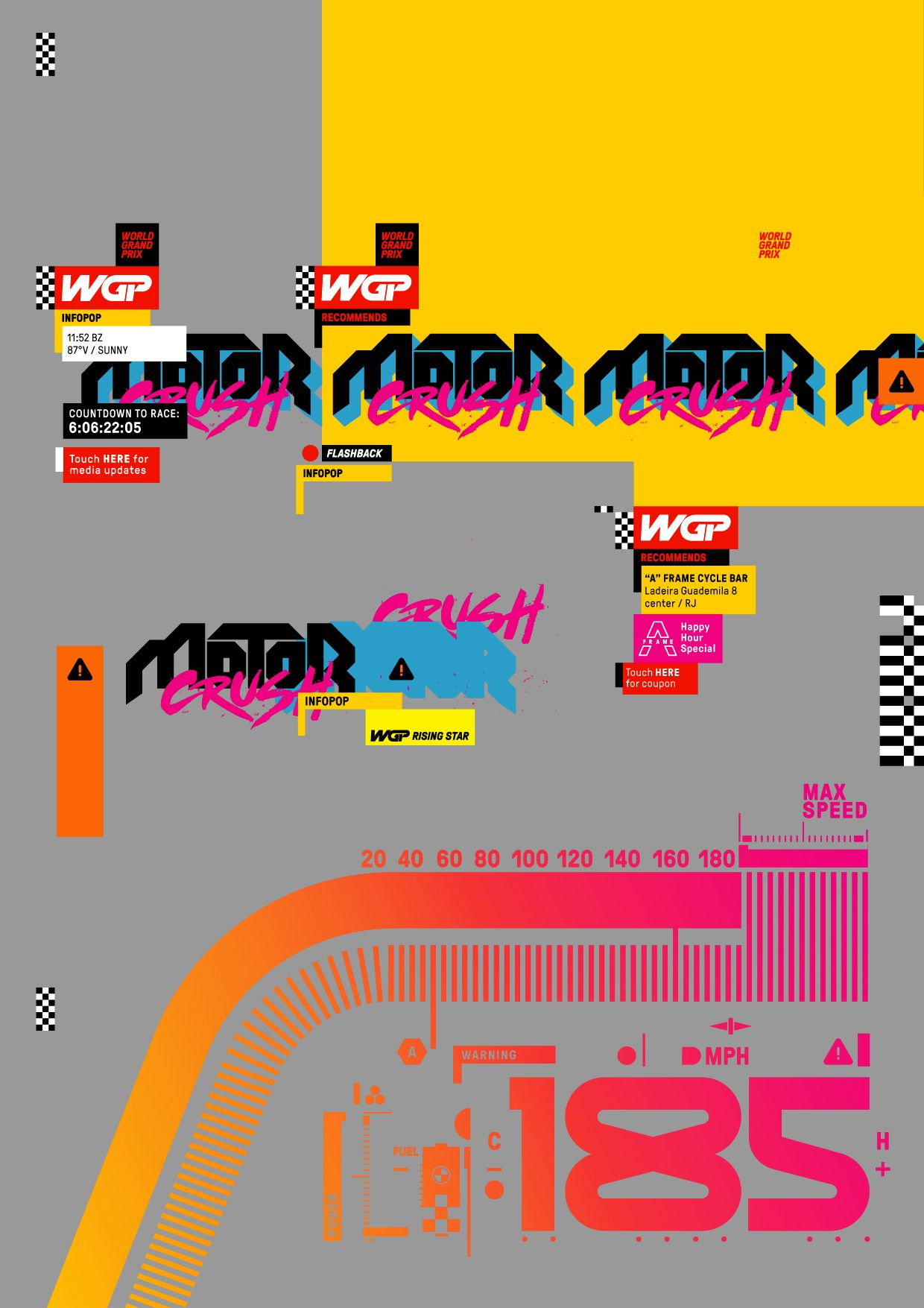 Motor Crush 2 Has Raced Into Stores And Is Now Crushing It Everywhere Here S A Sampling Of The Graphics And Design Elements I Created Tipografia Experimental