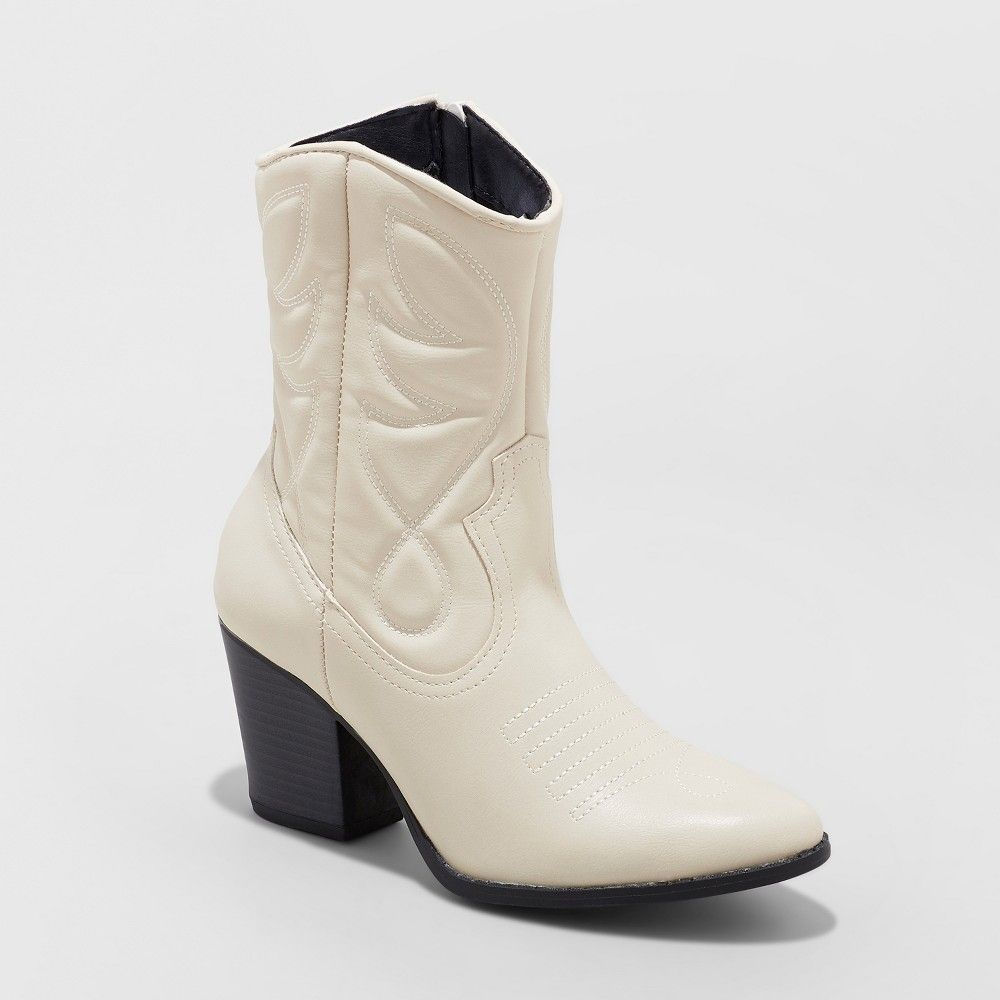 3a7890f13a9 Women's Clayton Western Cowboy Bootie - Wild Fable White 12 Gender ...