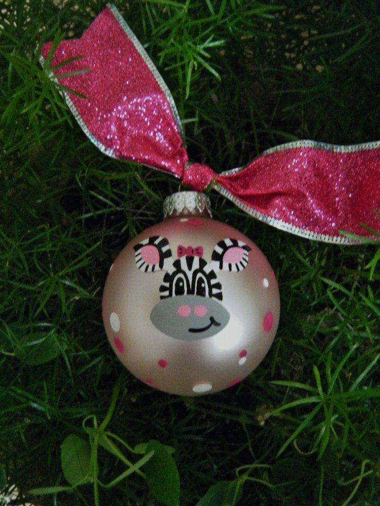 Pink Zebra Ornament Personalized by BrushStrokeOrnaments on Etsy